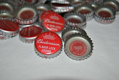 100 Budweiser Bottle Caps Clean,Dent Free-For Crafts
