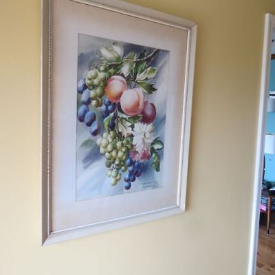 Large VTG WATERCOLOR STill Life Fruit Grapes. FLORAL PAINTING SIGNED  1940s-50's