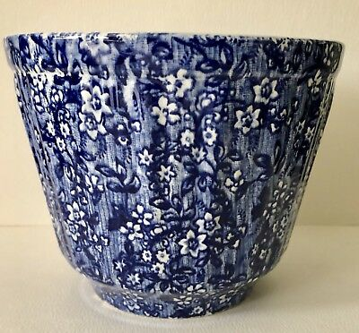 Antique James Kent Staffordshire England Blue&White Pottery Ribbed Flower Pot