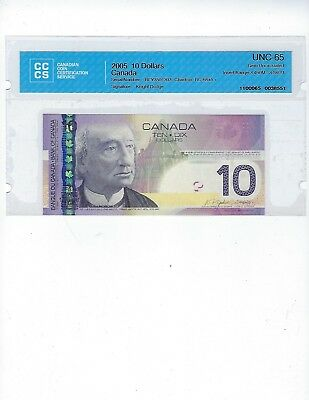 Canada  2005 BC-68aA-i $10 Notes  CCCS 65 Insert R 3.46M to 3.580M Cat $90