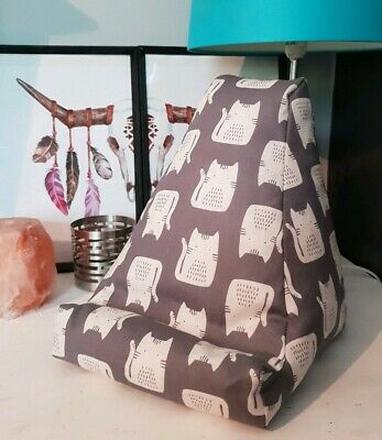 Grey Cat Design Cushion Pillow Beanbag Rest Holder Suit Ipad Book Tablet