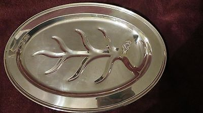 """Sheffield Silver/Silver Plated Footed OVAL MEAT TREE OF LIFE SERVING PLATTER 18"""""""