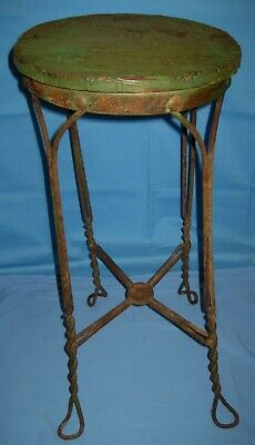 Vtg/Antique Twisted Iron Metal Ice Cream Parlor Stool Chair Org Green Paint!