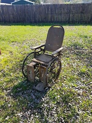 antique wheelchair wood & woven seat & back