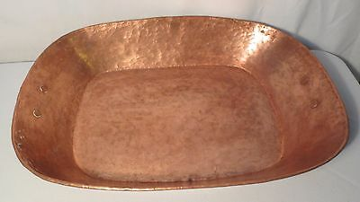 Antique Large Hammered Copper Roasting Pan Hand made 20 x 14.5