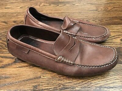 f68afe42624 ECCO MENS BROWN Leather Driving Penny Loafers Sz 47 Euro 14 US Mocs ...