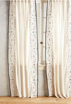"""Anthropologie Ivory Sketched Geometric Triangle Curtain Single Panel 50""""x 84""""New"""