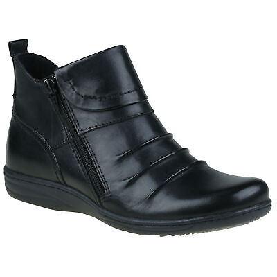 Planet Shoes Womens Comfort Ripple Ankle Boot in Black Leather