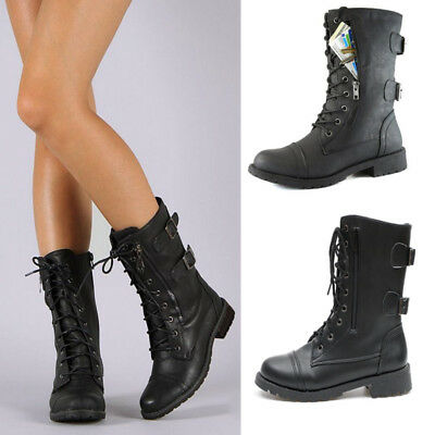 Womens Ladies Military Boots Army Combat Ankle Lace Up Low Heels Flat Shoes Size