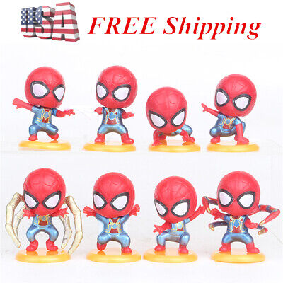 Spider-Man:Homecoming Spiderman 8 PCS Action Figure Kids Doll Cake Topper Toys