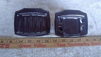 Vintage Brown Wall Mount Soap Dish Toothbrush Holder Ceramic Porcelain