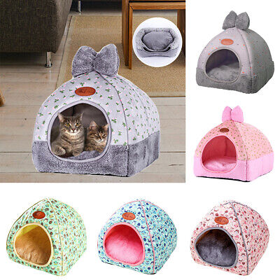 Foldable Small Pet Cat Dog Bed Winter Warm House Portable Kennel Puppy Tent UK