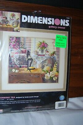 "2002 Dimensions Gallery Morning Tea Crewel Embroidery Kit 16"" x 14"" New"