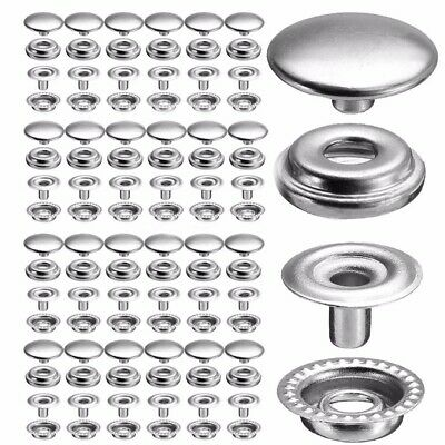 100Pc/Set~Stainless Steel Fastener Snap Press Stud Cap Button Marine Boat Canvas