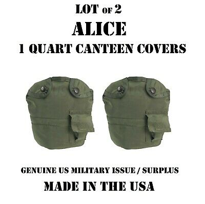 LOT OF 2 USGI US MILITARY ARMY USMC 1 QT CANTEEN COVER POUCH w/ ALICE CLIPS VGC