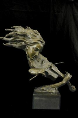 "Abstract Female Violinist Bronze Bust Sculpture 23"" x 31"""