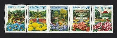 NEVER FOLDED = GARDENS = FLOWERS = BK Strip of 5 fr QP MNH CANADA 1991#1315ai