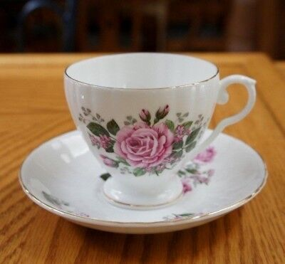 ROYAL GRAFTON with pink  roses Cup & Saucer  Bone China ENGLAND