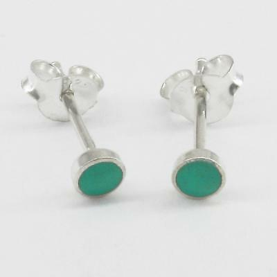 4mm Turquoise 'Button' Post Earrings in SOLID 925 Sterling Silver - NEW