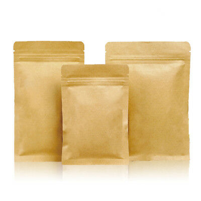 Brown Kraft Paper Bags Aluminum Foil Resealable Zip Lock Packaging Food Pouches