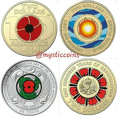 2019 $2 Coin 100 years repatriation - 2018 red poppy - $2 Eternal Flame - NZ 50c
