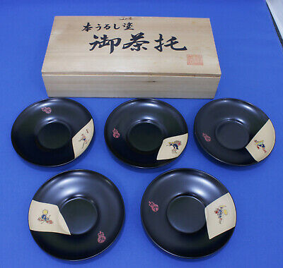 Japanese Wooden Tea Cup Tray Chataku Saucer 5 set Japan Culture FREE SHIPPING