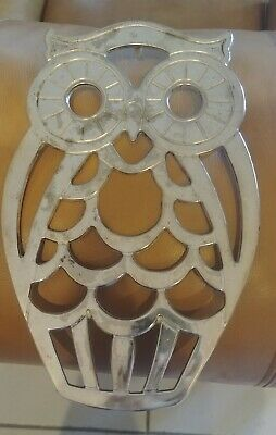 Leonard Silverplate trivet owl made in italy needs cleaning