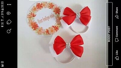 Handmade Girls Red White School Hair Bow Bobbles Sold In Pairs