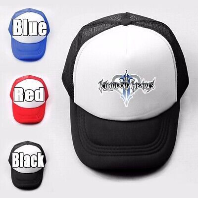 Characters in Kingdom Hearts Pattern Trucker Baseball Cap Solid Mesh Curved Hat
