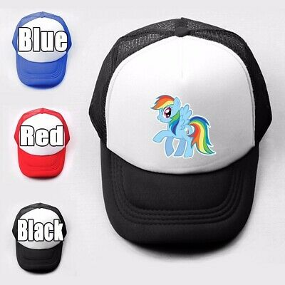 Pony Rainbow Dash Sky Blue Body Plain Trucker Baseball Cap Solid Mesh Curved Hat