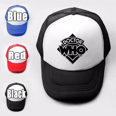 Doctor Who pattern Girls Boys Plain Trucker Baseball Cap Solid Mesh Curved Hat