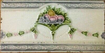 Vintage rare antique art nouveau majolica border tile c1900 | 6 X 3 Inches