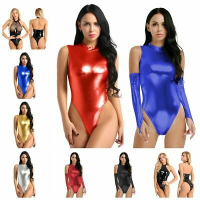 Women PVC Wet Look Leather Turtleneck Bodysuit Jumpsuit Catsuit Zipper Clubwear