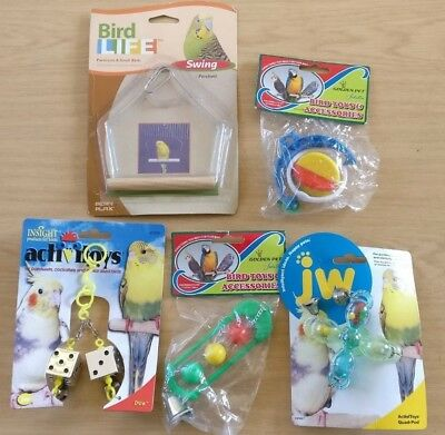Bird Parrot Budgie Toys Swing Bowls Mirror Chew Toy Random Selected 5 Pack