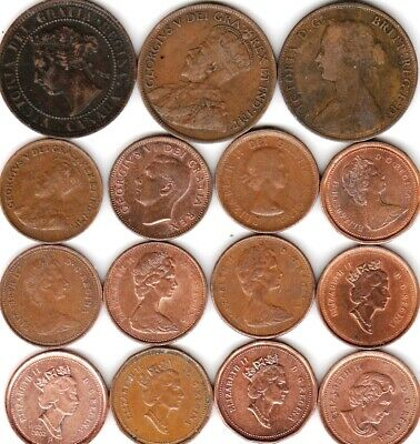 15 different 1-cent coins from CANADA some scarce