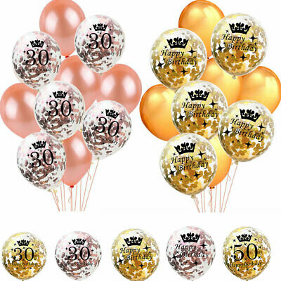 Rose Gold Latex Confetti Happy Birthday Balloons 18/21st/30/40/50/60 Party Decor