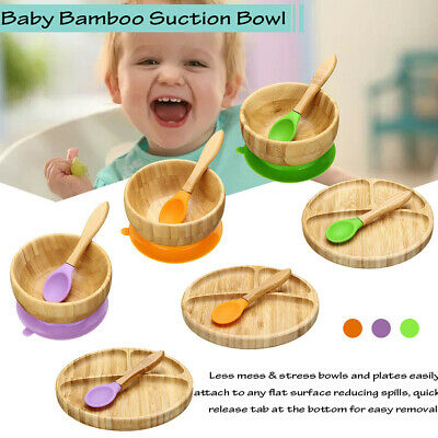Toddler Natural Bamboo Bowl Plate Spoon Baby Suction Plate Stay Put Feeding Set
