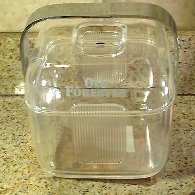 """OLD FORESTER Vintage Lucite/Acrylic Ice Bucket   61/2"""" High & 6"""" Square"""