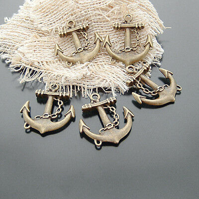Retro Bronze Anchor Shaped Zinc Alloy Pendants Jewelry Crafts Findings 10pcs