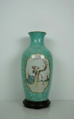 A Turquoise Ground Famille Rose Vase