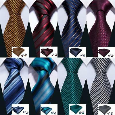 UK Mens Ties Necktie Blue Black Wine Red Burgundy Gold Teal Striped Tie Set Silk