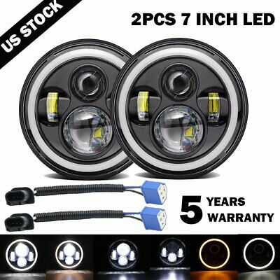 "Pair 7"" INCH 200W LED Headlight Halo Angle Eyes For Jeep Wrangler CJ JK LJ 97-17"