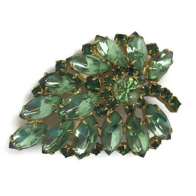 Vintage Mid Century Green Prong Set Rhinestone Leaf Shaped Pin Brooch Unsigned