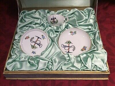 RARE Herend Boxed Set Of Coffee Cup/Saucer/Dish Commissioned Mining Pattern