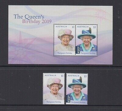 Australia 2019 Queen's Birthday Mint unhinged set 2 sheet stamps + mini sheet.