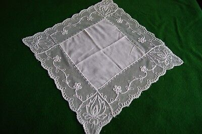 VINTAGE COTTON LAWN BATISTE HANDKERCHIEF HANKY Embroidered Tulle Lace #HK38