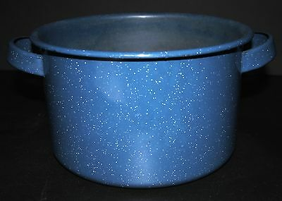 VTG  Blue Speckled Enamel Pot Enamelware Graniteware NICE!