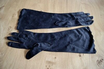 PAIR of VINTAGE 1960s 1970s BLACK NYLON EVENING GLOVES Embroidered Motifs #G3