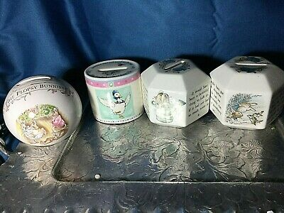 Lot 4 piggy banks England Wedgewood, Albert Jemina Duck Petter Rabit B. Potter