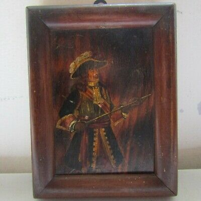 Antique oil painting hand painted panel Cavalier portrait brandishing sword 7.5""